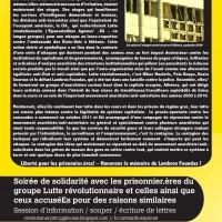 Soirée de solidarité avec les prisonnier.ères du groupe Lutte révolutionnaire