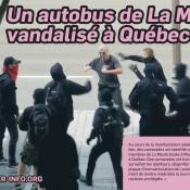 Un autobus de La Meute vandalisé à Québec