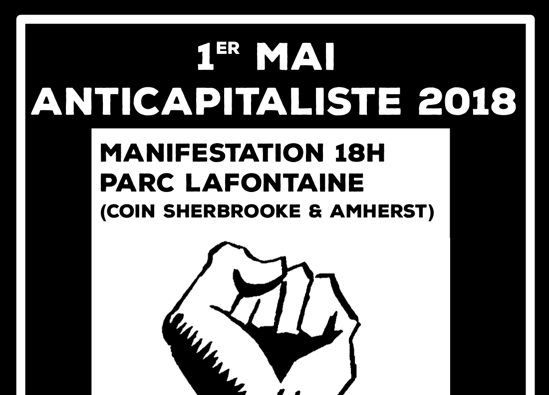 1er mai anticapitaliste 2018 - coin Sherbrooke/Amherst, 18h