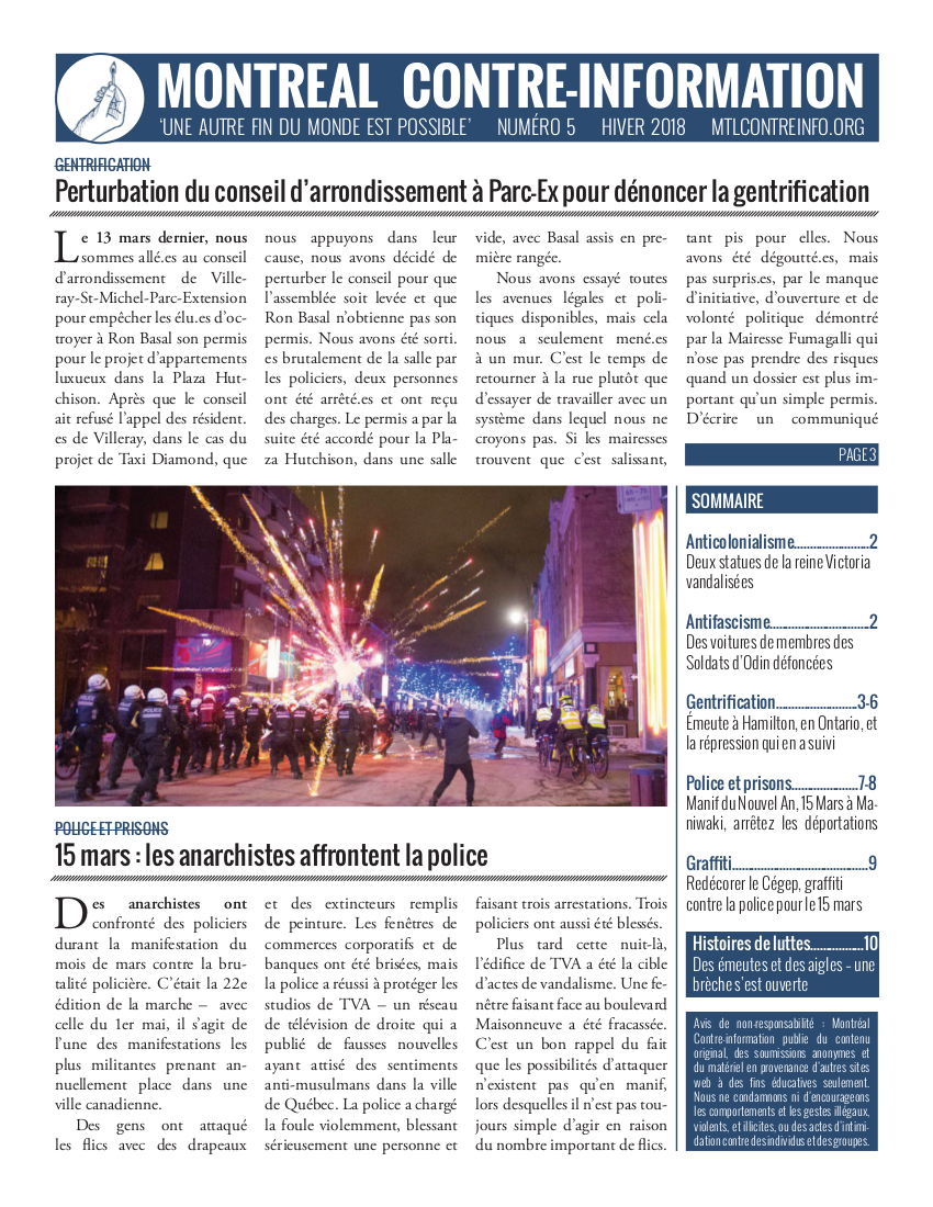 Montréal Contre-Info #5 (Hiver 2018)