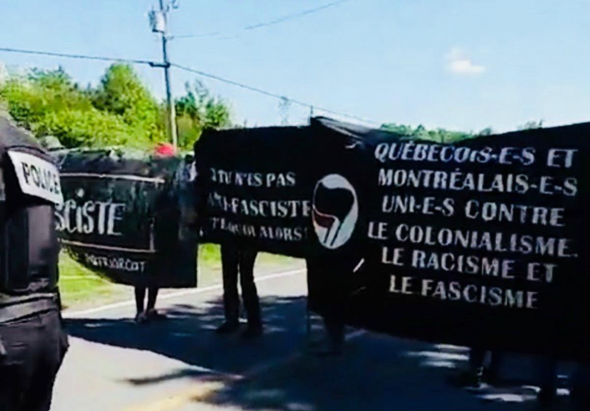 Action antifasciste à la frontière Québec/États-Unis