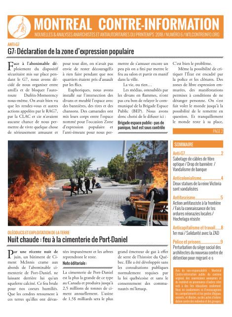 Montréal Contre-Info #6 (Printemps 2018)