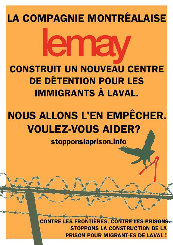 Contre les frontières, contre les prisons. Stoppons la construction de la prison pour migrant-es de Laval !