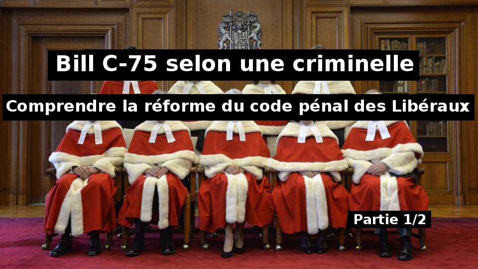 Bill C-75 selon une criminelle: Comprendre la réforme du code pénal des Libéraux (1ère partie)