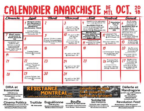 Calendrier anarchiste du mois d'octobre