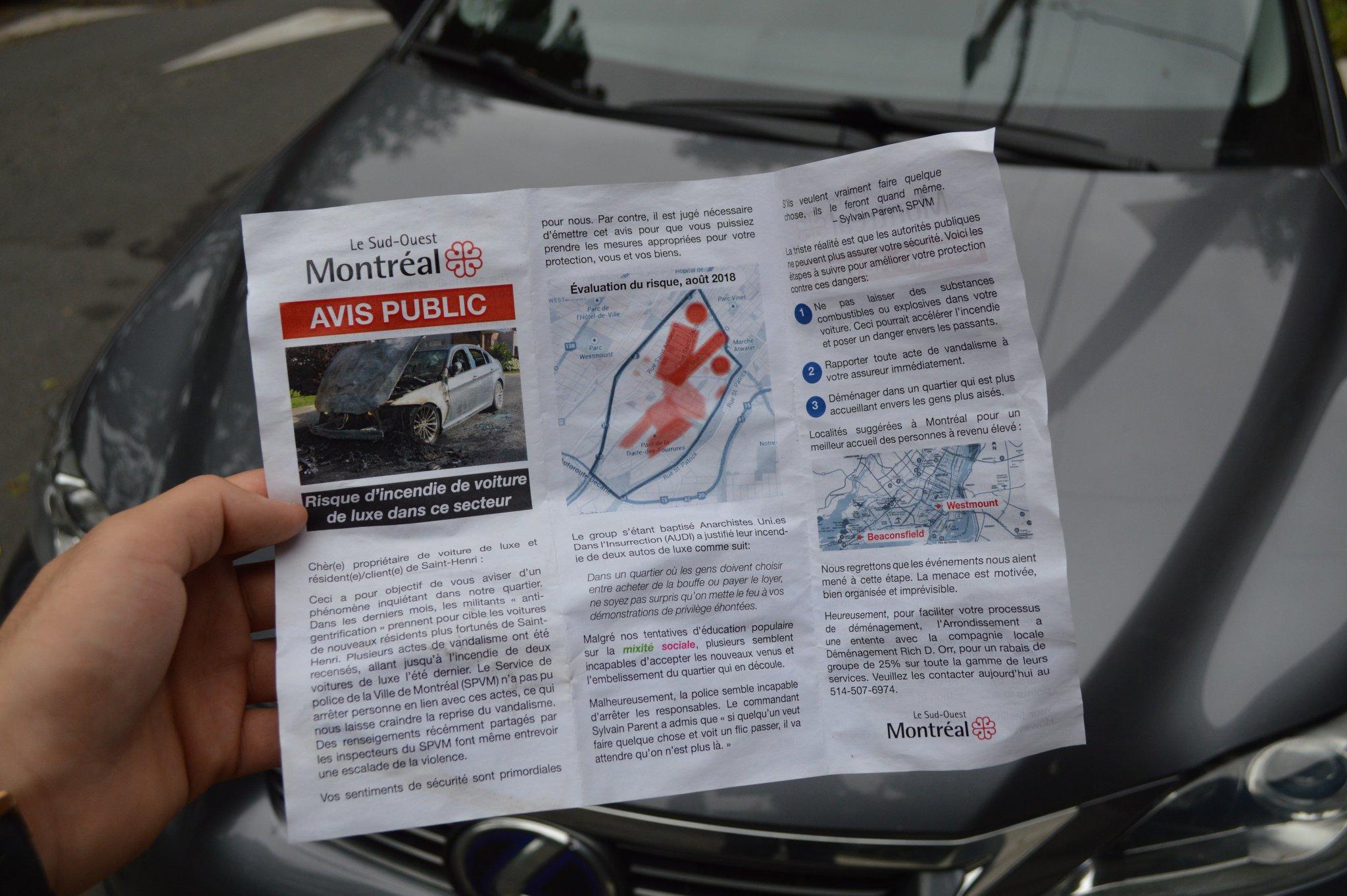 Avis public à Saint-Henri : risque d'incendie de voiture de luxe
