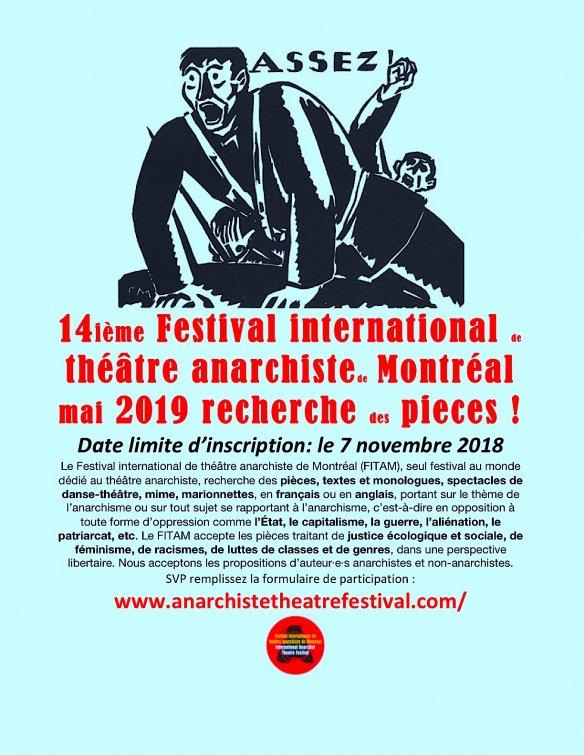 Le festival international de théâtre anarchiste de Montréal : il ne reste qu'une semaine...
