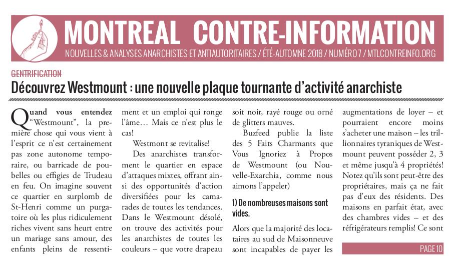 Montréal Contre-Info #7 (Été-Automne 2018)