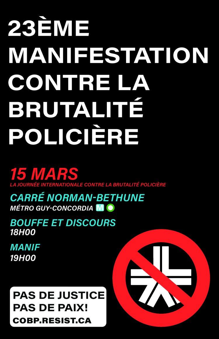 Appel à la manifestation contre la brutalité policière 2019