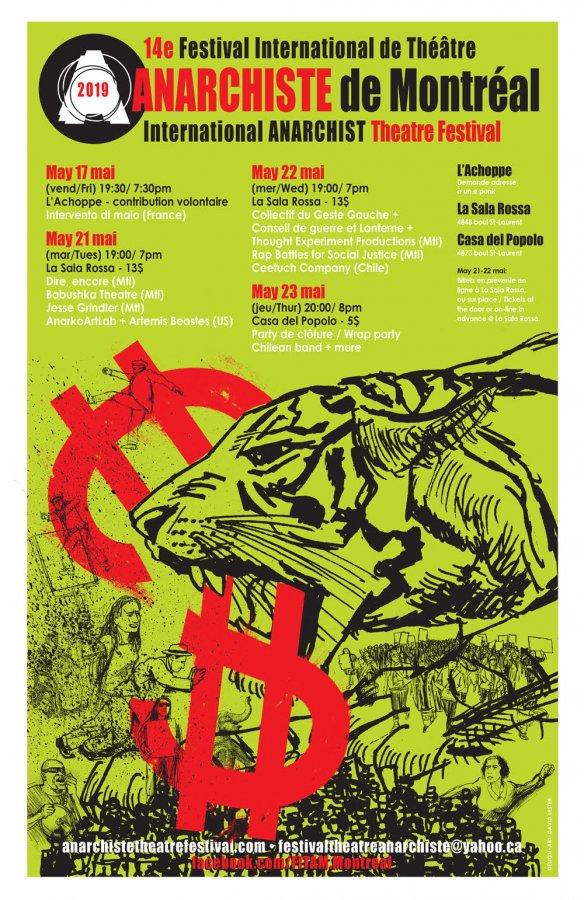 Le 14e Festival international de théâtre anarchiste de Montréal : le 17-23 mai 2019