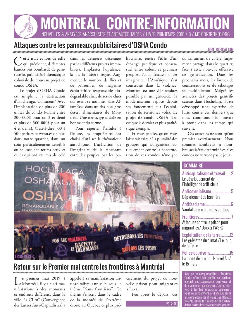 Montréal Contre-Info #8 (Hiver-Printemps 2019)
