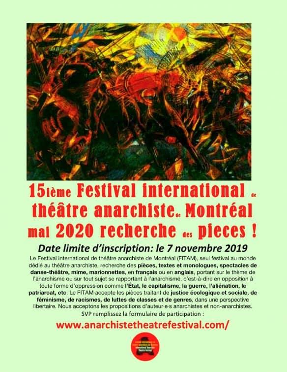 Le 15ème Festival international de théâtre anarchiste de Montréal recherche des pièces !