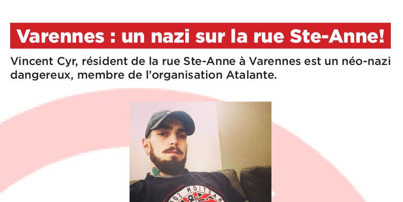 Varennes : un nazi d'Atalante sur la rue Sainte-Anne