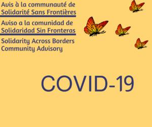 COVID-19 – Avis à la communauté de Solidarité Sans Frontières