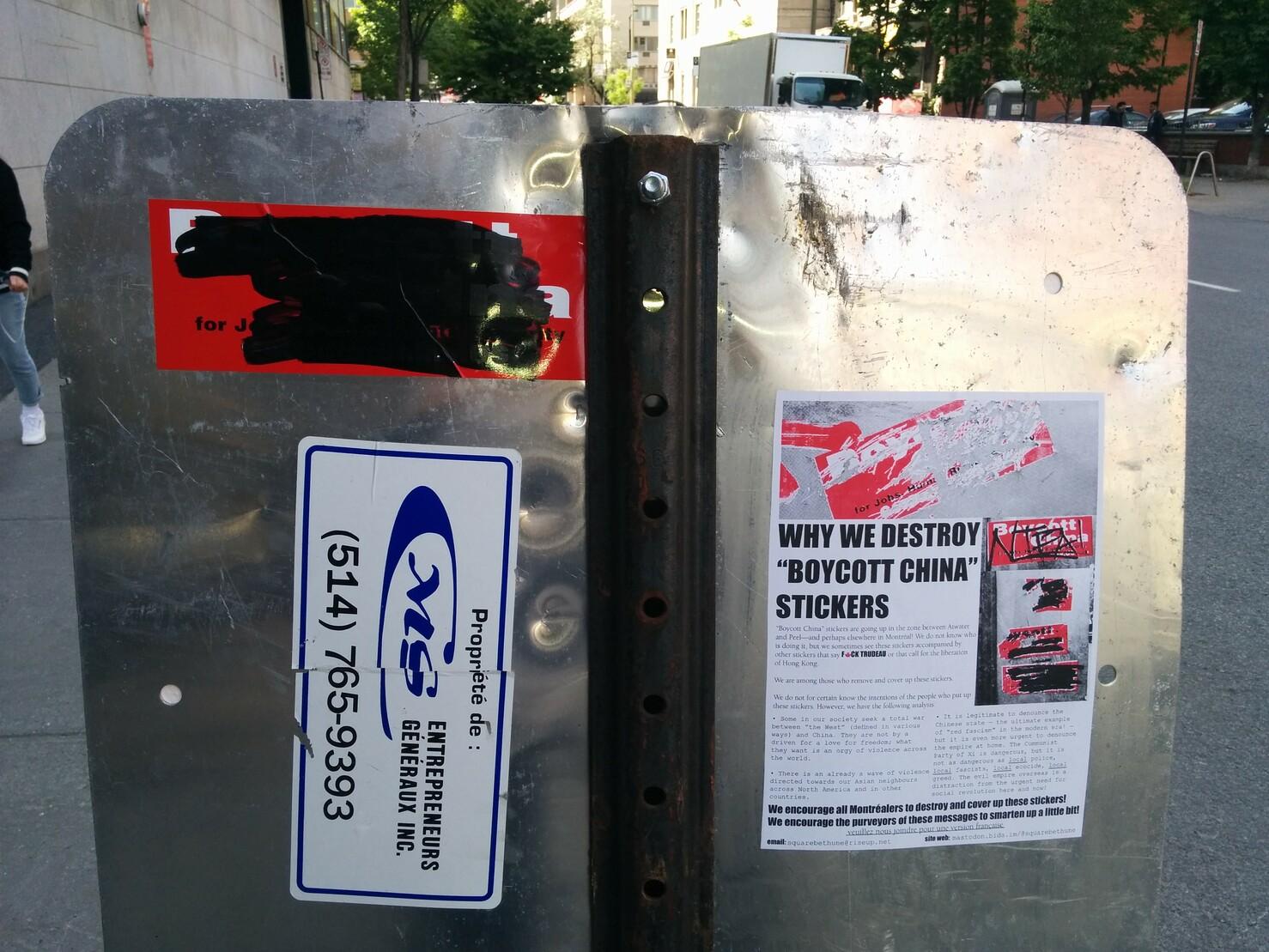 """Pourquoi on détruit les autocollants """"Boycott China"""""""