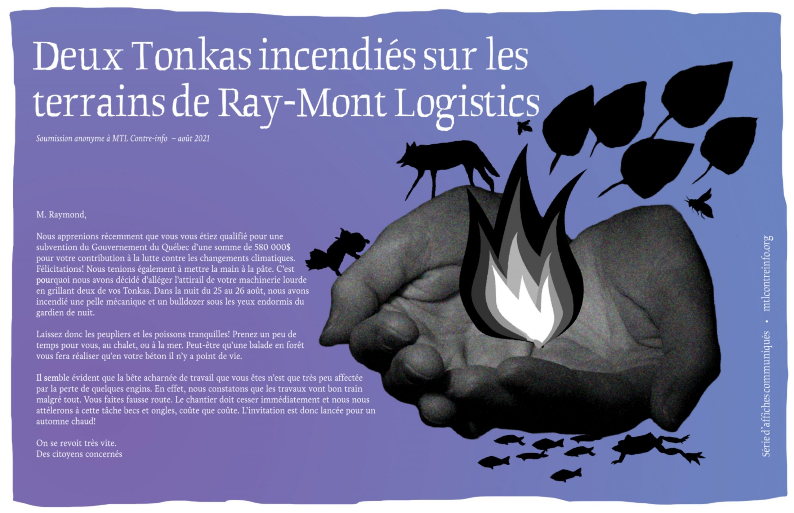 Nouvelle affiche de communiqué : Deux Tonkas incendiés sur les terrains de Ray-Mont Logistics