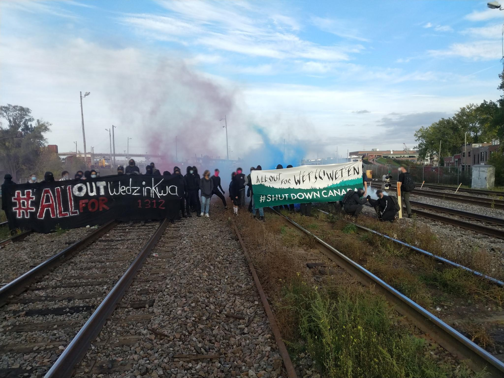 Blocage des rails en solidarité avec la semaine d'action Gidimt'en